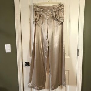 Laundry by Shelli Segal shiny wide leg pants